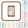 Mobile application simple icons - Mobile application simple icons in color rounded square frames on white background