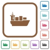 Sea transport simple icons - Sea transport simple icons in color rounded square frames on white background