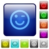Winking emoticon color square buttons - Winking emoticon icons in rounded square color glossy button set