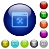 Application tools color glass buttons - Application tools icons on round color glass buttons