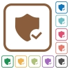 Protection ok simple icons - Protection ok simple icons in color rounded square frames on white background