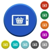 Mobile shopping beveled buttons - Mobile shopping round color beveled buttons with smooth surfaces and flat white icons