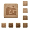 Pound wallet wooden buttons - Pound wallet on rounded square carved wooden button styles