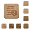 Indian Rupee coins wooden buttons - Indian Rupee coins on rounded square carved wooden button styles