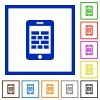 Smartphone firewall flat framed icons - Smartphone firewall flat color icons in square frames on white background