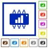 Hardware acceleration flat framed icons - Hardware acceleration flat color icons in square frames on white background