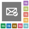 Mail read flat icons on simple color square backgrounds - Mail read square flat icons