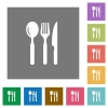 Restaurant flat icons on simple color square backgrounds - Restaurant square flat icons