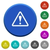 Warning sign beveled buttons - Warning sign round color beveled buttons with smooth surfaces and flat white icons