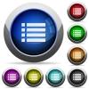 Unordered list round glossy buttons - Unordered list icons in round glossy buttons with steel frames