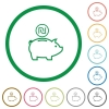 Israeli new Shekel piggy bank flat icons with outlines - Israeli new Shekel piggy bank flat color icons in round outlines on white background
