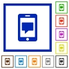 Mobile messaging flat framed icons - Mobile messaging flat color icons in square frames on white background