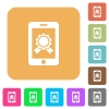 Mobile certification rounded square flat icons - Mobile certification icons on rounded square vivid color backgrounds.