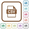 CSV file format simple icons - CSV file format simple icons in color rounded square frames on white background