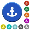 Anchor beveled buttons - Anchor round color beveled buttons with smooth surfaces and flat white icons