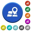 Map location beveled buttons - Map location round color beveled buttons with smooth surfaces and flat white icons