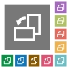 Rotate left square flat icons - Rotate left flat icons on simple color square backgrounds