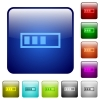 Progressbar color square buttons - Progressbar icons in rounded square color glossy button set