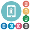 Mobile charging flat round icons - Mobile charging flat white icons on round color backgrounds