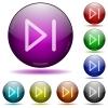 Media next glass sphere buttons - Media next icons in color glass sphere buttons with shadows
