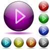 Media play glass sphere buttons - Media play icons in color glass sphere buttons with shadows
