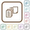 Move file simple icons in color rounded square frames on white background - Move file simple icons