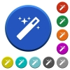 Magic wand beveled buttons - Magic wand round color beveled buttons with smooth surfaces and flat white icons