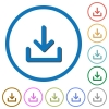 Download icons with shadows and outlines - Download flat color vector icons with shadows in round outlines on white background