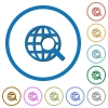 Web search icons with shadows and outlines - Web search flat color vector icons with shadows in round outlines on white background