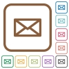 Message simple icons in color rounded square frames on white background - Message simple icons