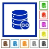 Joined database tables flat framed icons - Joined database tables flat color icons in square frames on white background