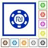 New Shekel casino chip flat framed icons - New Shekel casino chip flat color icons in square frames on white background