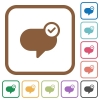 Message sent simple icons - Message sent simple icons in color rounded square frames on white background