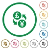 Pound Yen exchange flat icons with outlines - Pound Yen exchange flat color icons in round outlines on white background