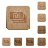 New Shekel banknotes wooden buttons - New Shekel banknotes on rounded square carved wooden button styles