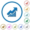 Rising graph icons with shadows and outlines - Rising graph flat color vector icons with shadows in round outlines on white background