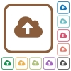 Cloud upload simple icons - Cloud upload simple icons in color rounded square frames on white background