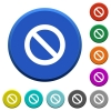 Blocked beveled buttons - Blocked round color beveled buttons with smooth surfaces and flat white icons