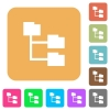 Folder structure rounded square flat icons - Folder structure icons on rounded square vivid color backgrounds.