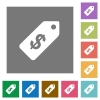 Dollar price label square flat icons - Dollar price label flat icons on simple color square backgrounds