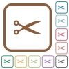 Cut simple icons - Cut simple icons in color rounded square frames on white background