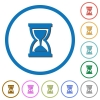 Hourglass icons with shadows and outlines - Hourglass flat color vector icons with shadows in round outlines on white background