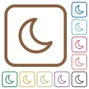 Moon shape simple icons - Moon shape simple icons in color rounded square frames on white background