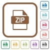ZIP file format simple icons - ZIP file format simple icons in color rounded square frames on white background