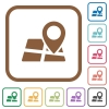 Map location simple icons - Map location simple icons in color rounded square frames on white background