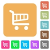 Cart rounded square flat icons - Cart icons on rounded square vivid color backgrounds.