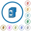 Ink cartridge icons with shadows and outlines - Ink cartridge flat color vector icons with shadows in round outlines on white background