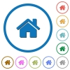 Home flat color vector icons with shadows in round outlines on white background - Home icons with shadows and outlines