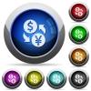 Dollar Yen exchange round glossy buttons - Dollar Yen exchange icons in round glossy buttons with steel frames