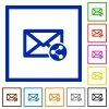 Share mail flat framed icons - Share mail flat color icons in square frames on white background